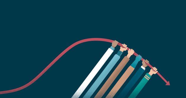 Ilustración que representa el trabajo en conjunto para aplanar la curva de contagios de la