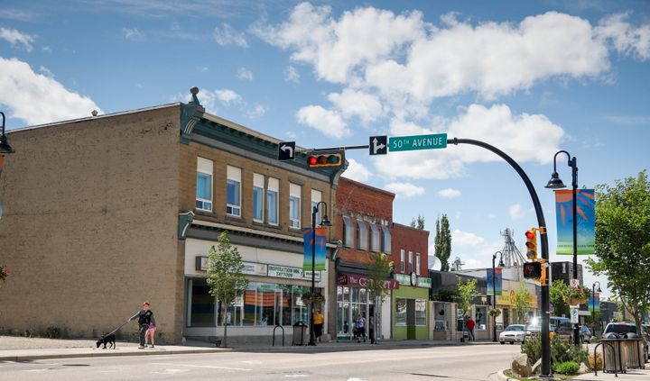 Downtown Innisfail, Alta. is shown on June 9, 2020.
