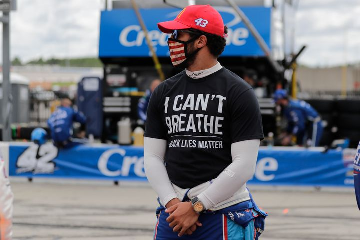 "Bubba Wallace wears an ""I can't breathe. Black lives matter"" shirt before a NASCAR Cup Series race Sunday at Atlanta Motor Sp"
