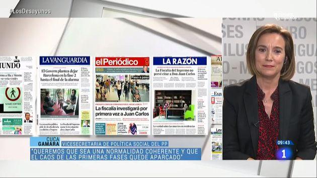 Algunas de las portadas emitidas en TVE durante la intervención de Cuca
