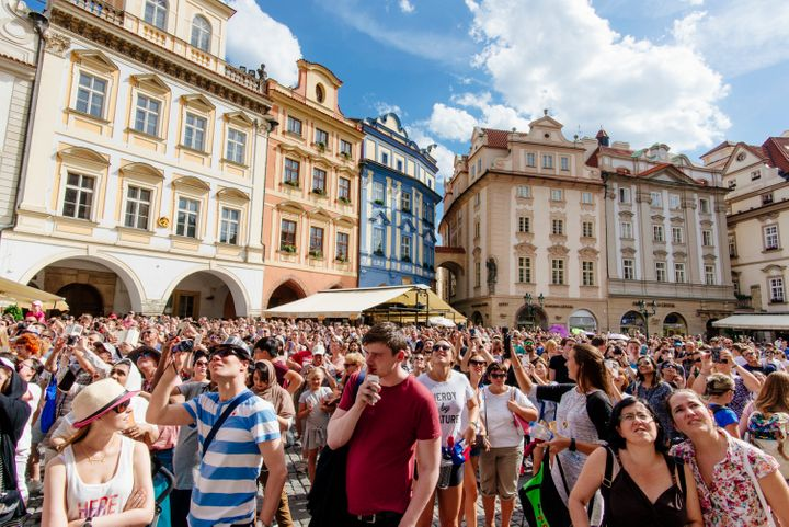 A crowd of tourists in the Old Town of Prague.