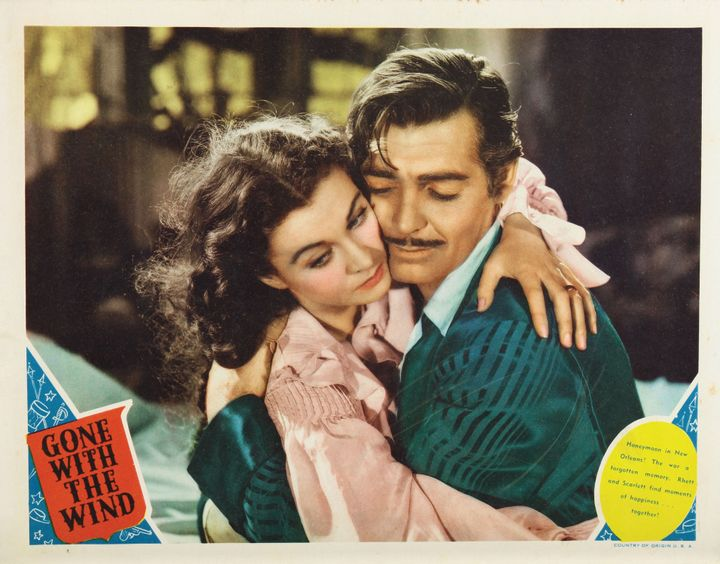 "Vivien Leigh and Clark Gable in a poster for 1939's ""Gone With The Wind."""
