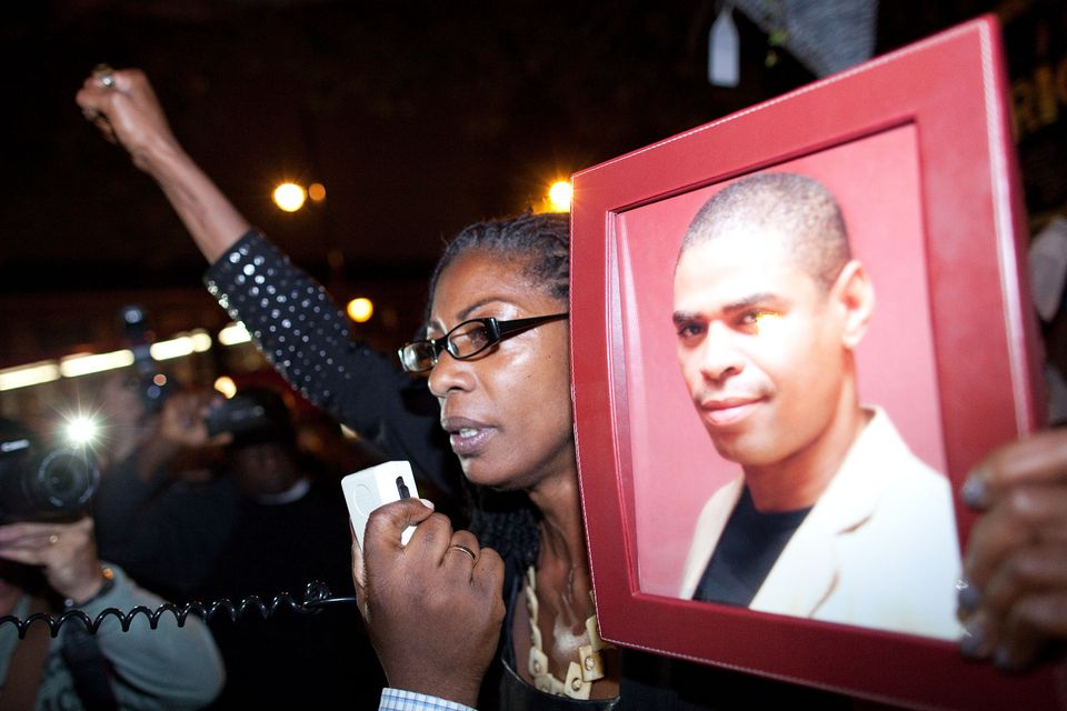A demonstration against the police in memory of Sean Rigg, who died at Brixton police