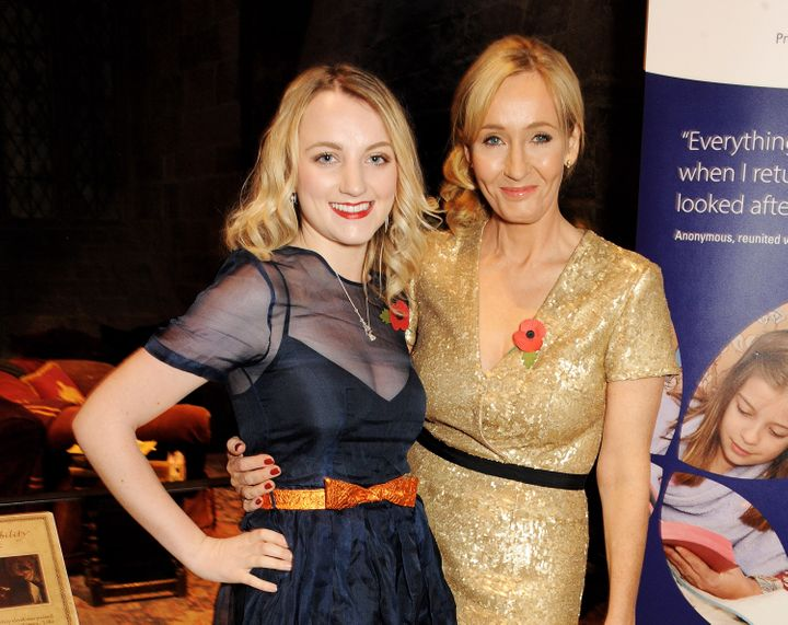 """Evanna Lynch and J.K. Rowling pictured together at a """"Harry Potter"""" event in 2013."""