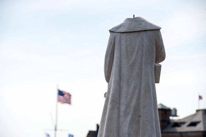 Someone decapitated the statue of Christopher Columbus in Boston. Police recovered the statue's head on Wednesday morning.