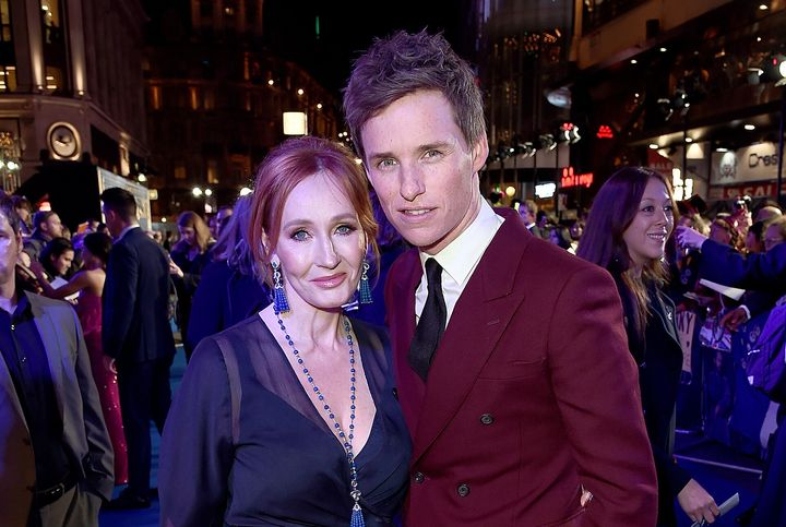 """J.K. Rowling and Eddie Redmayne attend the U.K. Premiere of """"Fantastic Beasts: The Crimes of Grindelwald"""" in London's Leicest"""