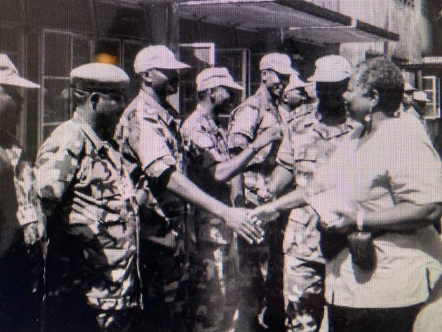 The author with United Nations peacekeeping forces in Guinea, West Africa, in 2000.