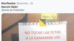 Un bar de Gijón pide perdón tras colocar este cartel en su