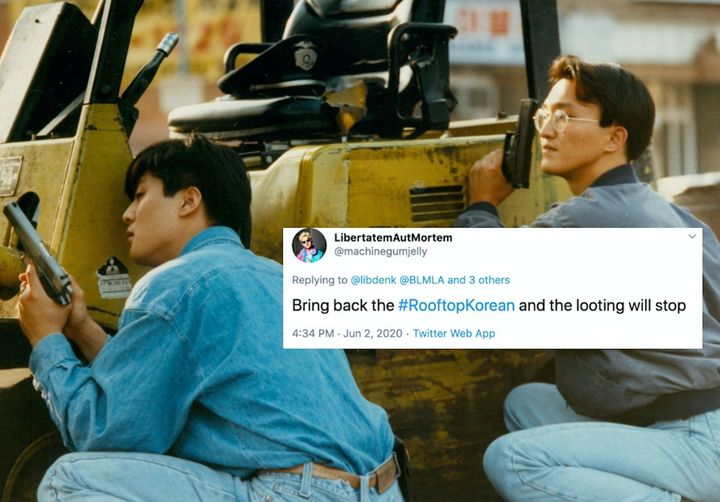 Korean storeowners defend their property as gunfire breaks out in Koreatown in Los Angeles in 1992. Today the photos have bee