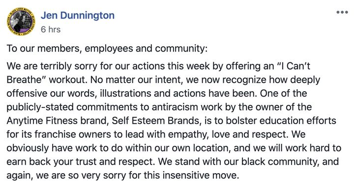 Anytime Fitness apology