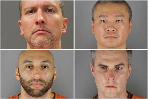 元警察官のデレク・ショーヴィン被告、トゥ・タオ被告、トーマス・レーン被告、J.