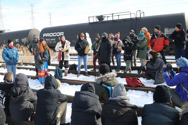 Hundreds of protesters occupy the Macmillan Yard in Vaughan, Ont. on Feb. 15, 2020 in solidarity with...