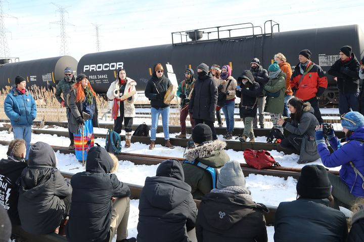 Hundreds of protesters occupy the Macmillan Yard in Vaughan, Ont. on Feb. 15, 2020 in solidarity with traditional Wet'suwet'en leaders opposed to an LNG pipeline through their territory.
