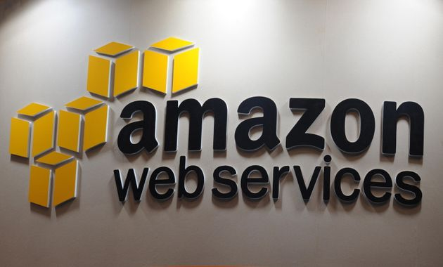epa08478452 (FILE) - The logo of Amazon Web Services (AWS) at the ad:tech Tokyo advertising trade fair...