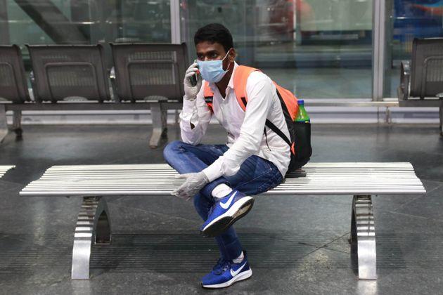 A man seen at Kolkata's Netaji Subhash Chandra Bose International Airport after arriving from Kuwait...