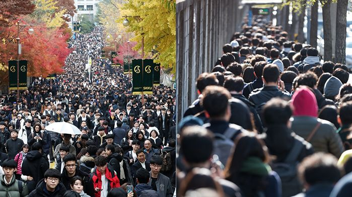 성균관대학교에서 2020학년도 수시 논술고사를 마친 수험생과 학부모들의 모습(왼쪽), 2018 상반기 LG 신입사원 공채 인적성검사를 마친 응시생들의 모습