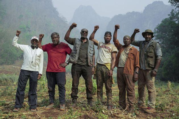 Le réalisateur Spike Lee et ses acteurs Isiah Whitlock Jr, Delroy Lindo, Jonathan Majors, Clarke Peters...