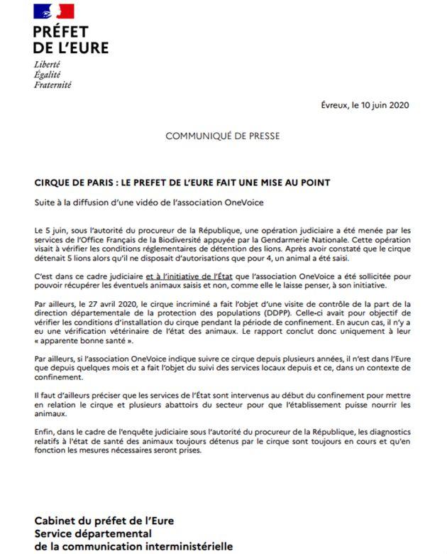 Communiqué de la préfecture de l'Eure après la publication des images de One