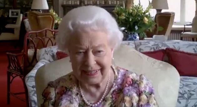 A screenshot of Queen Elizabeth II on a Zoom video