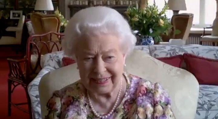 A screenshot of Queen Elizabeth II on a Zoom video call.