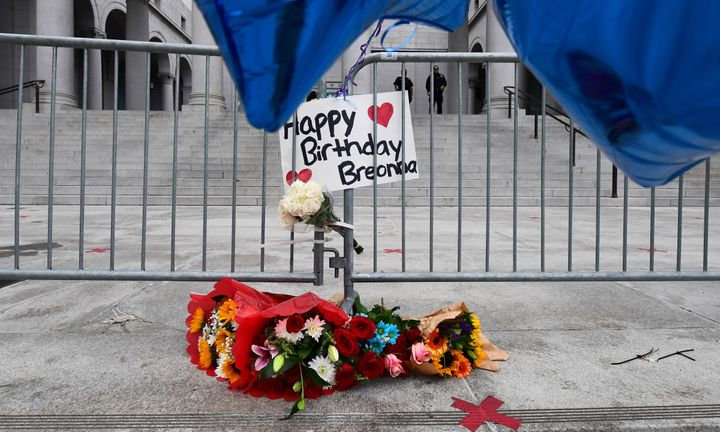 Flowers and a birthday greeting for Breonna Taylor at City Hall in Los Angeles, on what would have been her birthday, June 5, 2020.