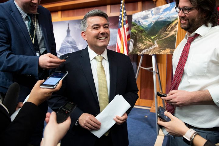 Sen. Cory Gardner (R-Colo.) speaks with reporters in the Capitol after a news conference on the Land and Water Conservation F
