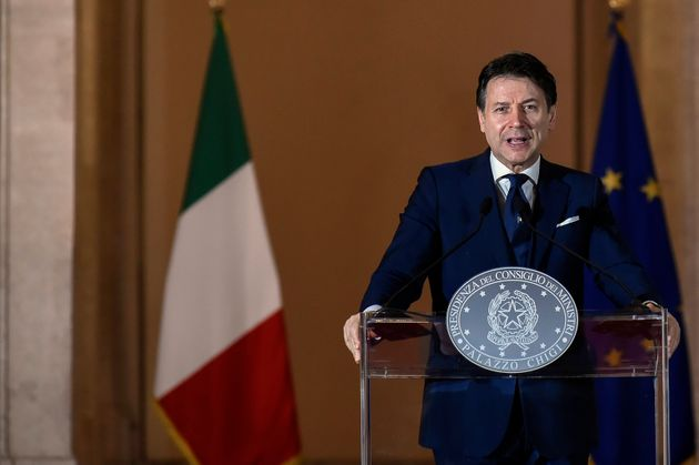 Italian Prime Minister Giuseppe Conte speaks at a press conference on the reopening after the lockdown...