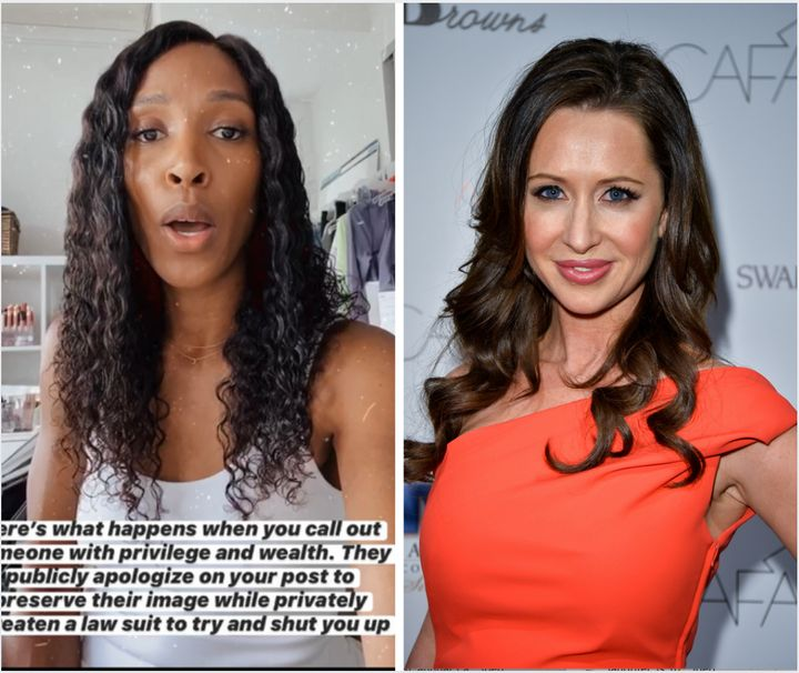 Sasha Exeter revealed on Wednesday that Jessica Mulroney, right, who is best friends with Meghan Markle, threatened her livel
