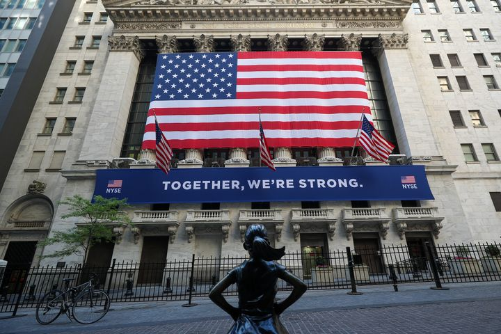NEW YORK, USA - MAY 26: New York Stock Exchange (NYSE) building is seen with the Fearless Girl Statue during Covid-19 pandemi