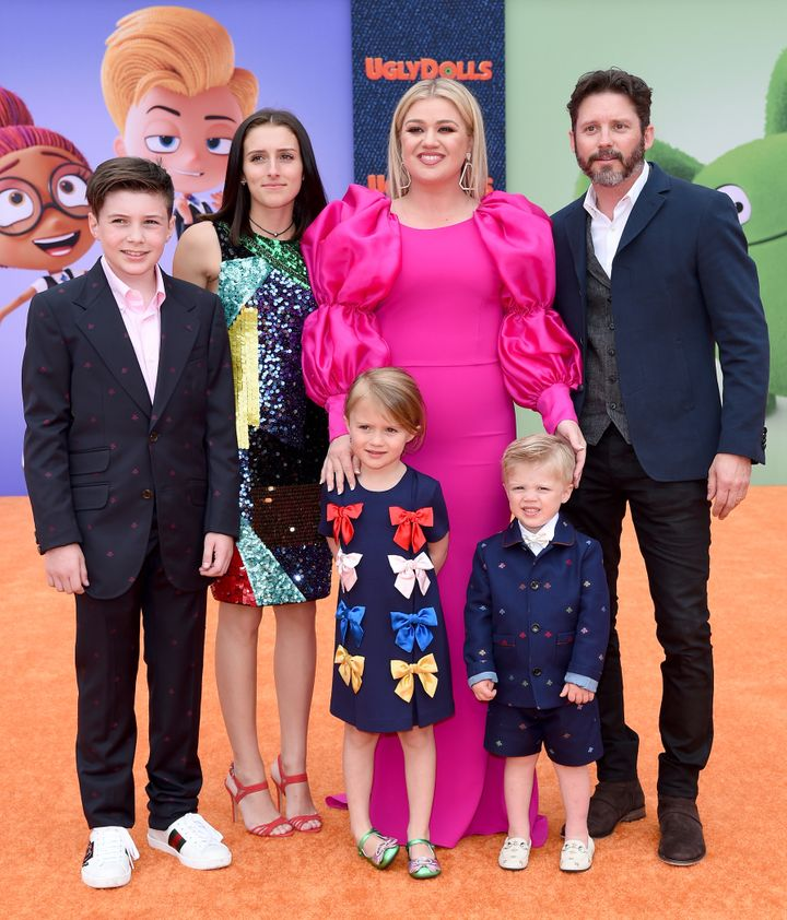 "Kelly Clarkson and her family arrive at the premiere of ""UglyDolls"" in 2019."
