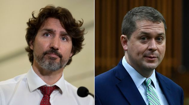 Prime Minister Justin Trudeau and Conservative Leader Andrew Scheer are shown in a composite image of...
