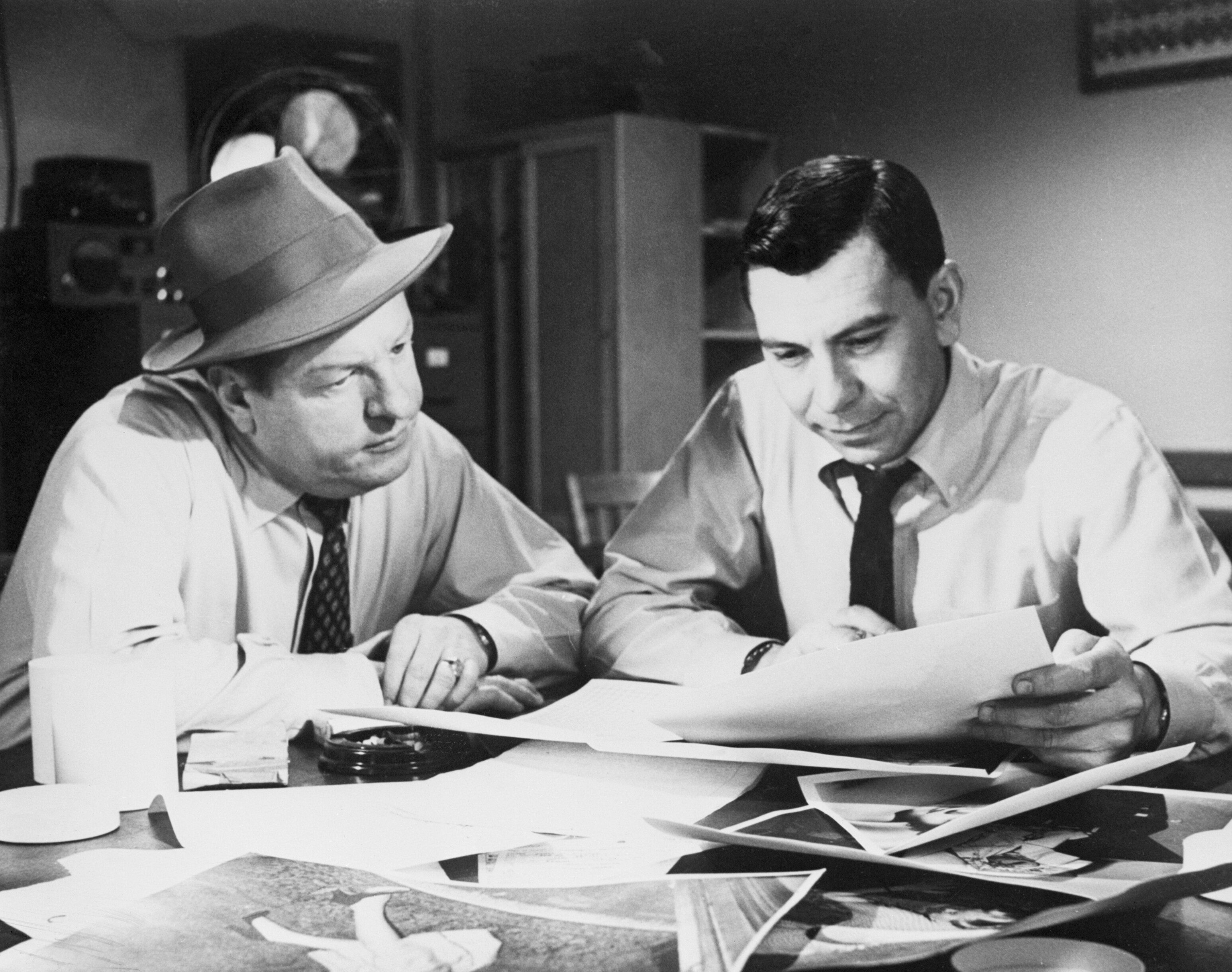 "Ben Alexander and Jack Webb in an episode of ""Dragnet."""