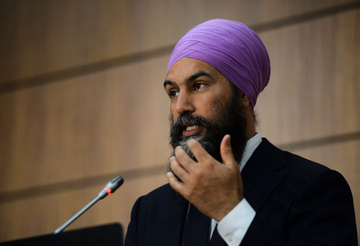 NDP Leader Jagmeet Singh speaks during a press conference on Parliament Hill during the COVID-19 pandemic in Ottawa on June 10, 2020.