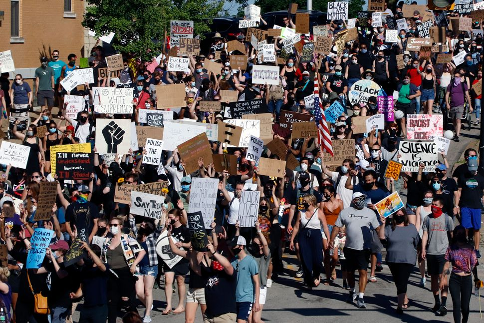 Protesters participating in a Black Lives Matter rally march to Downtown Pittsburgh from Mount Washington on June 7 to protes