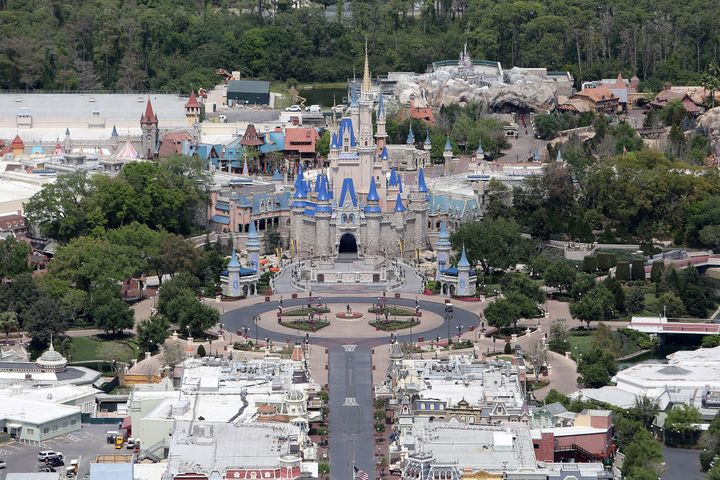 An aerial photo of Walt Disney World, closed due to the COVID-19 pandemic, taken on March 23, 2020.