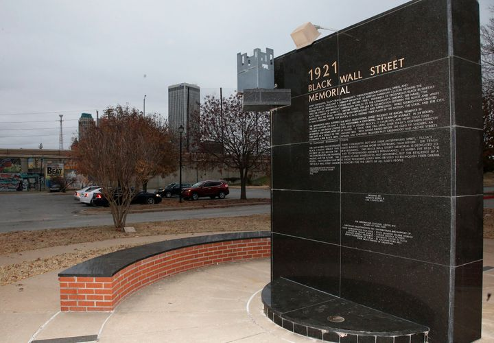 A memorial to Tulsa's Black Wall Street outside the Greenwood Cultural Center on the outskirts of downtown Tulsa, Oklahoma.
