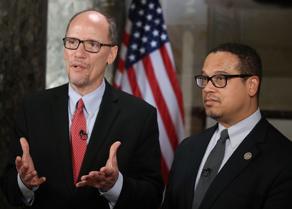 Keith Ellison's loss to former Labor Secretary Tom Perez (left) in the 2017 race to chair the Democratic National Committee d