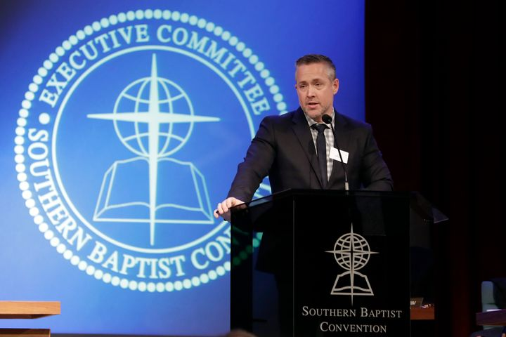 Southern Baptist Convention President J.D. Greear speaks to the denomination's executive committee last year in Nashville.
