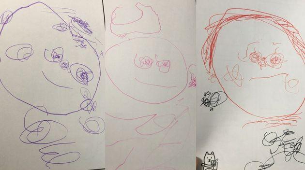 (2歳8ヶ月の娘が描いたパパと娘とかあちゃん)