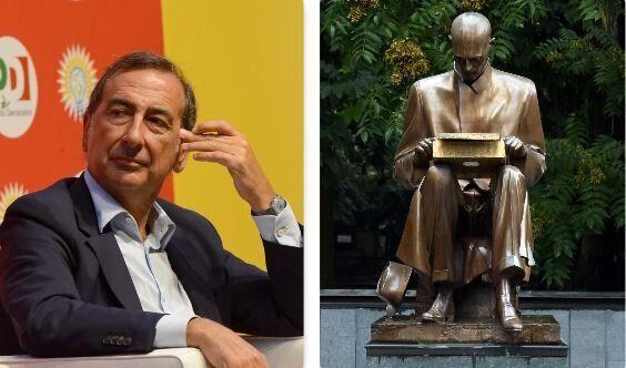 Beppe Sala e la statua dedicata a