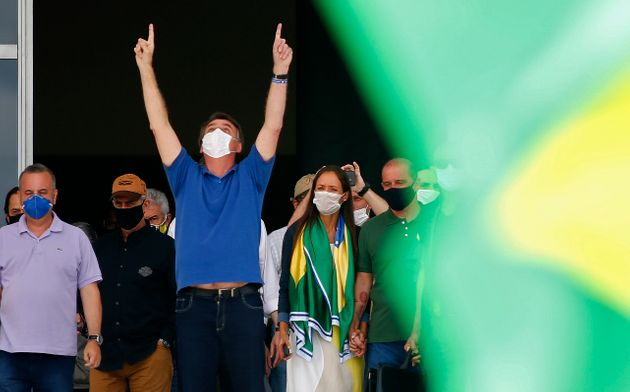 Jair Bolsonaro, ici lors d'un rassemblement à Brasilia au Brésil le 17 mai