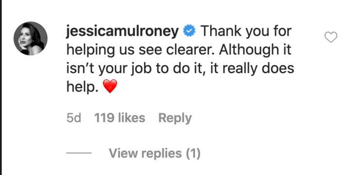 A screenshot of Jessica Mulroney's since-deleted comment under Moore's post.