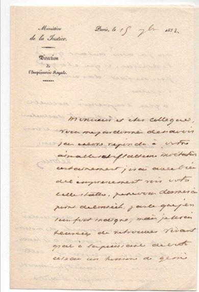 Χειρόγραφη επιστολή του Pierre-Antoine Lebrun (Συλλογή