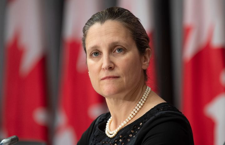 Deputy Prime Minister Chrystia Freeland is shown at a news conference in Ottawa on June 12, 2020.