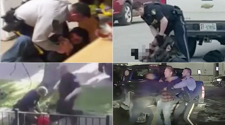 Over the past five years, police have been captured on video using force to arrest Indigenous people. Clockwise from top left: A Yukon RCMP officer pins a man to the ground in 2015, an OPP officer attempts to arrest a girl who appears unconscious in Sioux Lookout in 2019, an Edmonton police officer kneels on the back of a man in 2019, and an Alberta RCMP officer charges at First Nations Chief Allan Adam earlier this year.