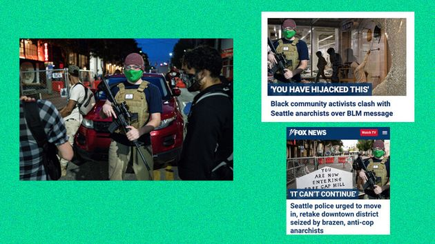 Fox News has used the original image on the left, by photographer David Ryder, to edit the armed man...