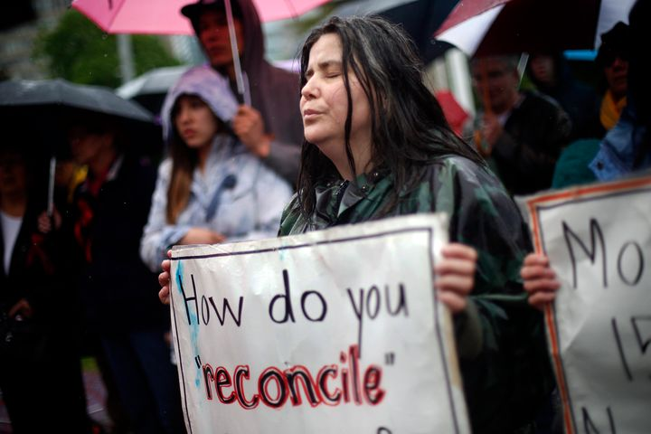 Cathy Stronghearted Woman at a drum circle at Queen's Park in the Walk for Reconciliation in Toronto, May 31, 2015.