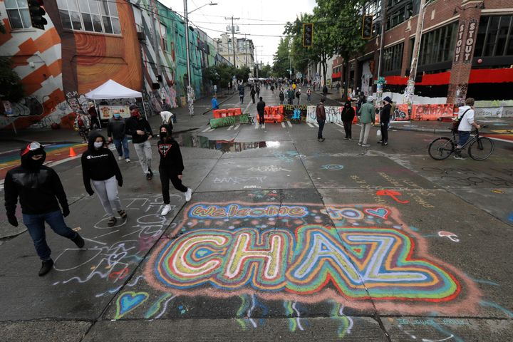 """Sreet art reads """"Welcome to CHAZ"""" on Thursday inside what is being called the Capitol Hill Autonomous Zone in Seattle. Follow"""