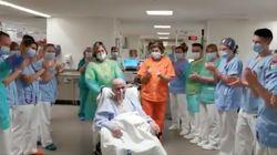 Emoción y ovación: el director de seguridad de un hospital madrileño sale así de la UCI tras 91