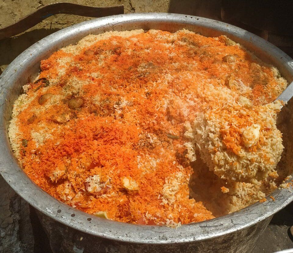 Biryani cooked by Faheem Muqeem for a relief camp in Nizamuddin.